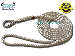 "3/8"" X 10' Three Strand Mooring Pendant 100% Nylon Rope with Thimble. (Tensile Strength 3800 Lbs.) Made in USA. FREE EXPEDITED SHIPPING -"