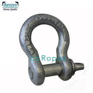 "5/8"" Screw Pin Anchor Shackle, Galvanized, 3-1/4 Ton Working Load Limit (6500 Lbs) - dbRopes"