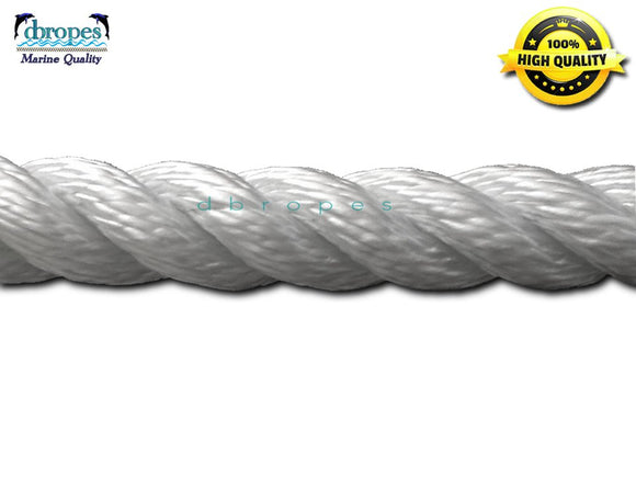 White 3-Strand Nylon Line, 1/2'' Diameter, 6400 lb. Breaking Strength, Max. Length 150'  Made in USA (price per ft) - dbRopes
