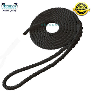 "1/2"" x 20' Dock Line dbRopes Premium Twisted 100% Nylon Black. Made in USA - dbRopes"
