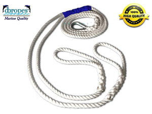 "1/2"" X 10' Three Strand Double Mooring Pendant 100% Nylon Rope with Stainless Steel Thimble (Tensile Strength 6400 Lbs.) Made in USA. - dbRopes"