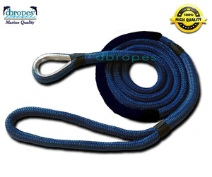 "DBROPES 5/8"" x 8' Double Braid Mooring Pendant Line 100% Nylon High Quality Rope with Stainless Steel Thimble and Chafe Guard. - dbRopes"