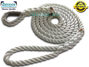 "3/4"" X 8' Three Strand Mooring Pendant 100% Nylon Rope with Thimble. (Tensile Strength 13800 Lbs.) Made in USA. FREE EXPEDITED SHIPPING - dbRopes"