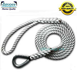 "1/2"" x 260' 3-Strand Mooring Pendant Line 100% Nylon with HD Stainless Steel Thimble. - dbRopes"