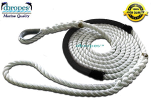"1/2"" X 8' Three Strand Mooring Pendant 100% Nylon Rope with Thimble and Chafe Guard. Made in USA. - dbRopes"