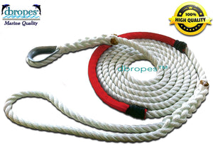 "1/2"" X 15' Three Strand Mooring Pendant 100% Nylon Rope with Thimble and Chafe Guard. (Tensile Strength 6400 Lbs.) Made in USA. FREE EXPEDITED SHIPPING. (Select color"