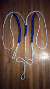 "5/8"" X 14' Three Strand Double Mooring Pendant 100% Nylon Rope with Stainless Steel Thimble.  and 2 Chafe Guard (Tensile Strength 10400 Lbs.) Made in USA. FREE EXPEDITED SHIPPING - dbRopes"