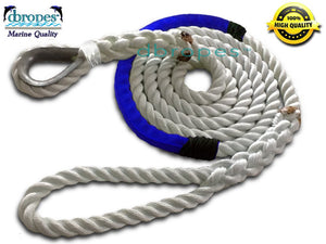 "5/8"" X 10' Three Strand Mooring Pendant 100% Nylon Rope with Thimble and Chafe Guard. (TS 10400 Lbs.) Made in USA - dbRopes"