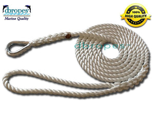 "1/2"" X 15' Three Strand Mooring Pendant 100% Nylon Rope with Thimble. (Tensile Strength 6.400 Lbs.) Made in USA. FREE EXPEDITED SHIPPING - dbRopes"