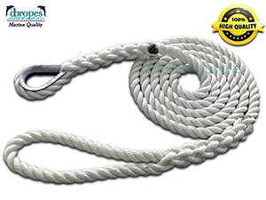 "5/8"" X 20' Three Strand Mooring Pendant 100% Nylon Rope with Galvanized or SS Thimble. (Tensile Strength 10400 Lbs.) Made in USA. FREE EXPEDITED SHIPPING - dbRopes"