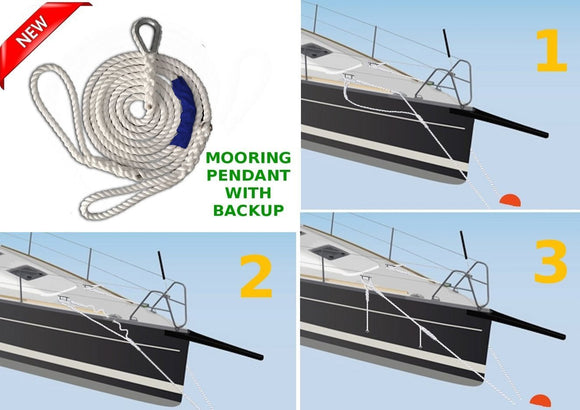 5/8 x 10 DriftProof Mooring Pendant with Backup Line. 3 Strand 100% Nylon rope with Thimble.  Made in USA  *****LAUNCH OFFER***** - dbRopes