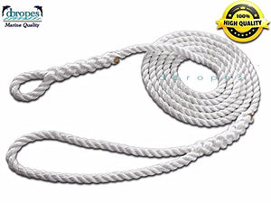"3/4"" X 15' Three Strand Mooring Pendant 100% Nylon Rope With Blue Chafe Guard Without Thimble . (TS 13800 Lbs.) Made in USA. FREE EXPEDITED SHIPPING - dbRopes"