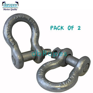 "2 pcs of 5/8"" Screw Pin Anchor Shackle, Galvanized, 3-1/4 Ton Working Load Limit (6500 Lbs.) Free Shipping"