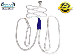 "5/8"" X 19' Three Strand Double Mooring Pendant 100% Nylon Rope with Thimble (Tensile Strength 10400 Lbs.) Made in USA. FREE EXPEDITED SHIPPING - dbRopes"
