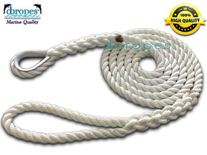 "5/8"" X 10' Three Strand Mooring Pendant 100% Nylon Rope with Thimble. (Tensile Strength 10400 Lbs.) Made in USA. FREE EXPEDITED SHIPPING -"