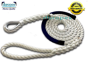 "5/8"" X 4' Three Strand Mooring Pendant 100% Nylon Rope with Thimble and Chafe Guard. (Tensile Strength 10400 Lbs.) Made in USA. FREE EXPEDITED SHIPPING. (Select color before add to cart) - dbRopes"