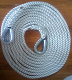 "1"" X 50' Three Strand Mooring Pendant 100% Nylon Rope with 2 Galvanized Heavy DutyThimbles. (Tensile Strength 25000 Lbs.) Made in USA. -"