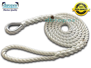 "DBROPES 1/2"" x 12'  3 Strand Mooring Pendant Line 100% Nylon High Quality Rope with Stainless Steel Thimble. Made in USA . - dbRopes"