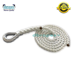 "3/4"" X 10' Three Strand Mooring Pendant 100% Nylon Rope with Thimble. (Tensile Strength 13800 Lbs.) Made in USA. FREE SHIPPING - dbRopes"
