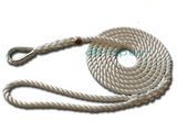 "1/2"" X 12' Three Strand Mooring Pendant 100% Nylon Rope with Thimble. (Tensile Strength 6.400 Lbs.) Made in USA. FREE EXPEDITED SHIPPING - dbRopes"