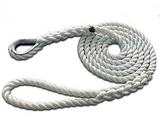 "5/8"" X 12' Three Strand Mooring Pendant 100% Nylon Rope with Thimble. (Tensile Strength 10400 Lbs.) Made in USA. FREE EXPEDITED SHIPPING - dbRopes"