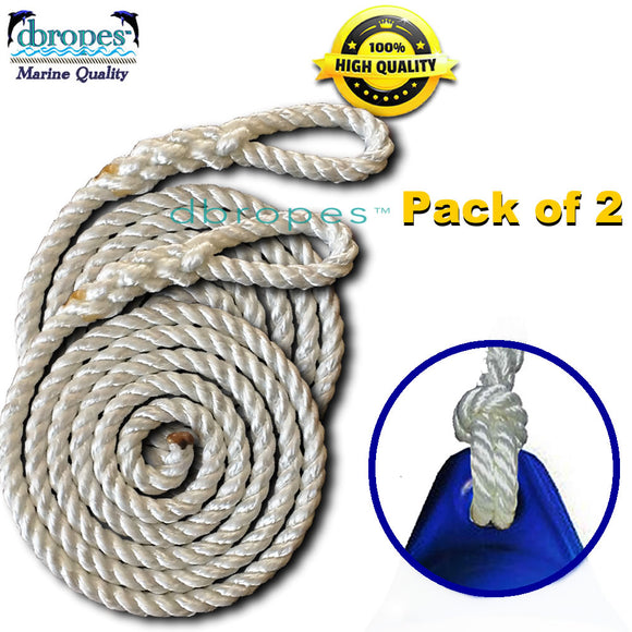 Fender Whips 100% Nylon Rope 3/8' X 6' - Pack of 2 (Fenders NOT included) - dbRopes