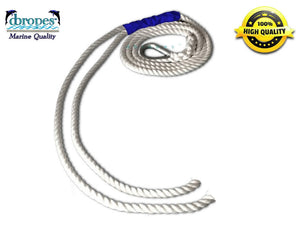 "1/2"" X 9' Three Strand Double Mooring Pendant 100% Nylon Rope with SS Thimble Custom order - dbRopes"