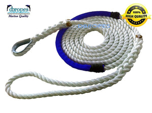 "1/2"" x 4'  6""  3 Strand Mooring Pendant Line 100% Nylon High Quality Rope with Stainless Steel Thimble and blue chafe guard. Made in USA . -"
