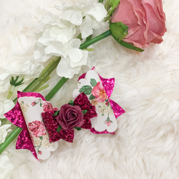 Savannah Pink Vintage Flower Bow