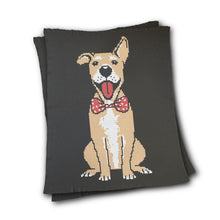 Load image into Gallery viewer, Dog With Bow Tie - Custom Knitted Blanket