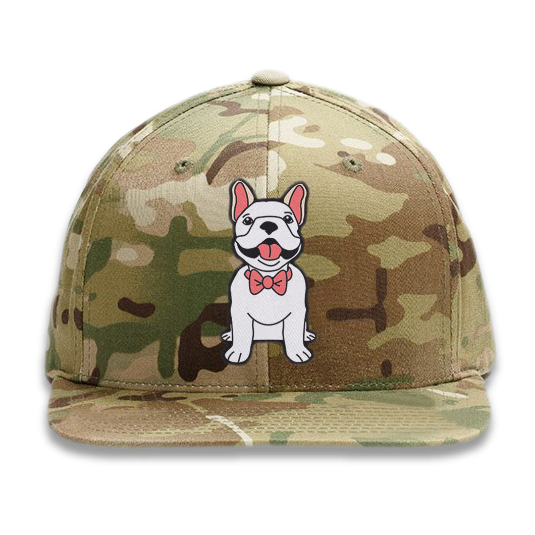 Embroidered Camo Dog wearing Bowtie Hat