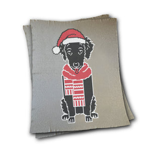 Dog wearing Santa Hat and Scarf - Custom Knitted Blanket