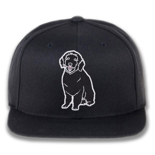 Embroidered Plain Dog Snapback Hat