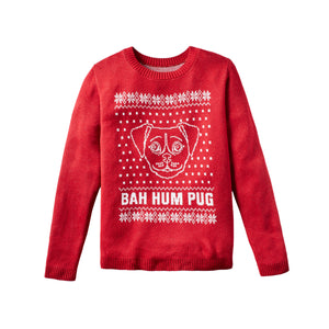 Bah Hum Pug - Custom Knitted Sweater