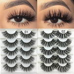 5 Pairs 2 Style 3D Faux Mink Hair Soft False Eyelashes Fluffy Wispy Thick Lashes Handmade Soft Beauty Eye Makeup Extension Tools