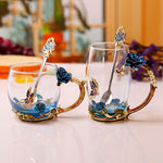 Enamel Coffee Tea Cup Mug 3D Rose Butterfly Glass Cups