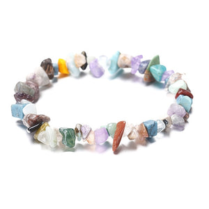 Natural Stone 7 Chakra Bangle  Crystal Chip Irregular Gravel Strand Bracelet for Women Small Size Reiki Healing Girl Jewelry
