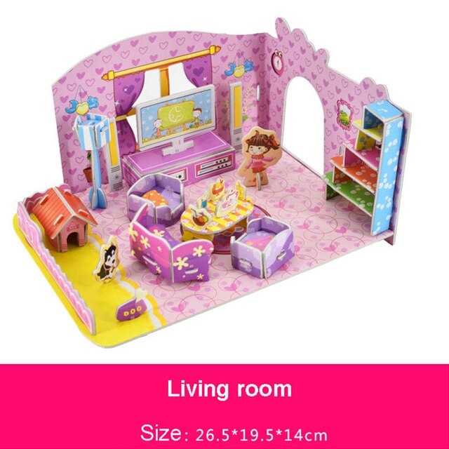3D DIY Doll House Miniature Bedroom Wooden Puzzle Toys Dollhouse Furniture Kit Handcraft Mini Wood Jigsaw Toy For Children Girls
