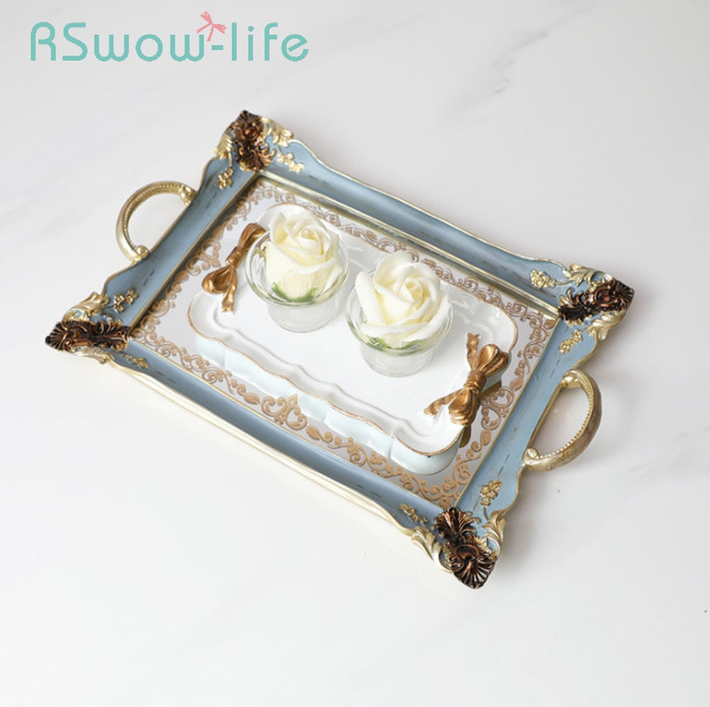 Retro Household Rectangular Tea Fruit Tray Jewelry Luxury Resin + Mirror Beauty Salon Spa Essential Oil Tray Serving Trays