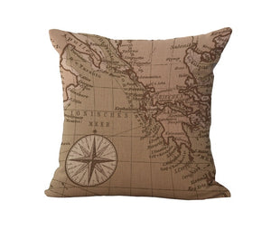 World Map Decorative Pillow Case