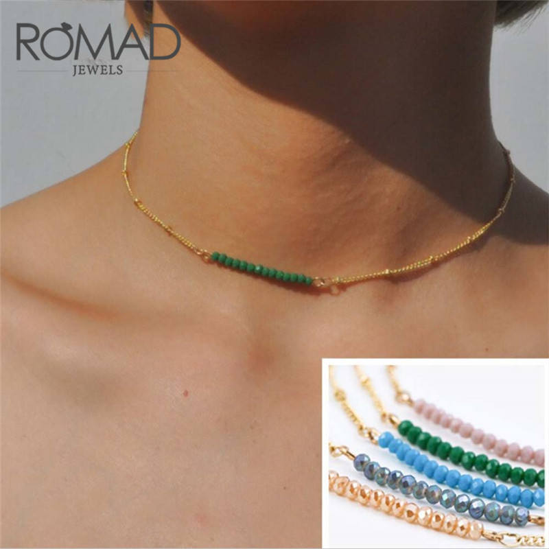 ROMAD Dainty Beaded Necklace Birthstone Minimal Link Chain Necklaces Fashion Natural Tiny Stone Women Crystal Necklace R4