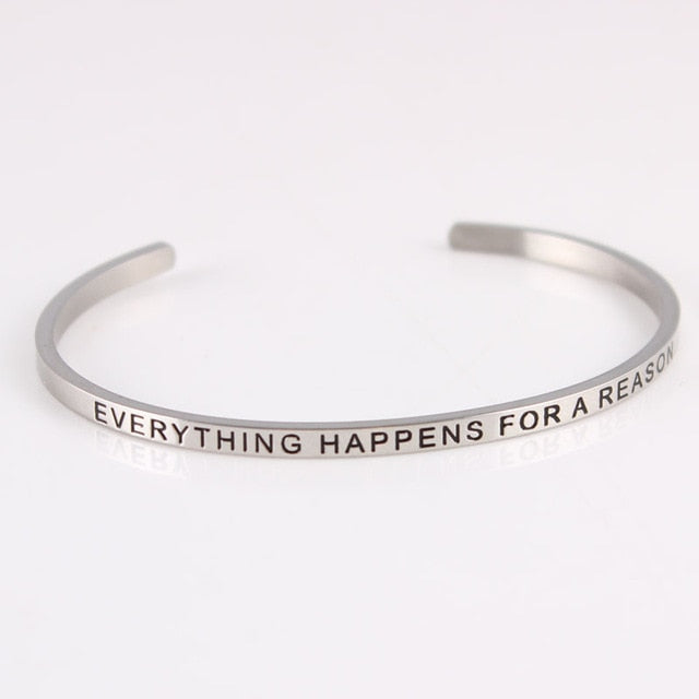 New Silver Stainless Steel Bangle Engraved Positive Inspirational Quote Hand Stamped Cuff Mantra Bracelets For Men Women
