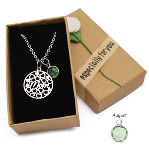 Love Heart Mom Necklaces Crystal Birthstone Pendant Necklace Stainless Steel Chain Charm Mother's Day Birthday Gift for Mom 2019