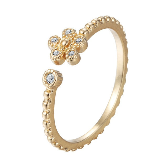QIMING Korean Finger Toe Ring Women's Gold Fashion Wedding Jewelry CZ Crystal Midi Rings Minimalism Knuckle Ring Girls Gift