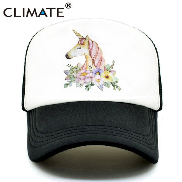 CLIMATE Unicorn Cap for Girls Unicorn Trucker Cap Hat Hip Hop Pink Rose Caps Colorful Mesh Baseball Cap Hat for Women Girl Youth