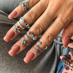 H:HYDE New 4pcs/Set Vintage Antique Gold Color Flower Midi Knuckle Finger Rings Set for Women Alloy Carving Stone Rings Anillos