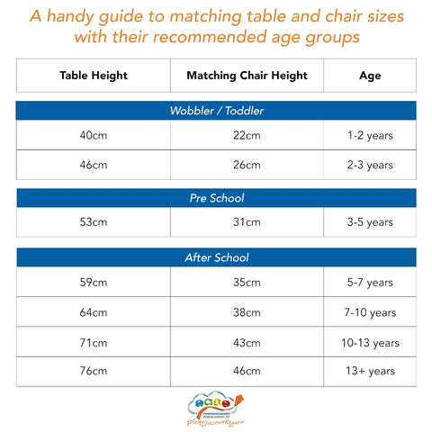 Chairs and tables size guide
