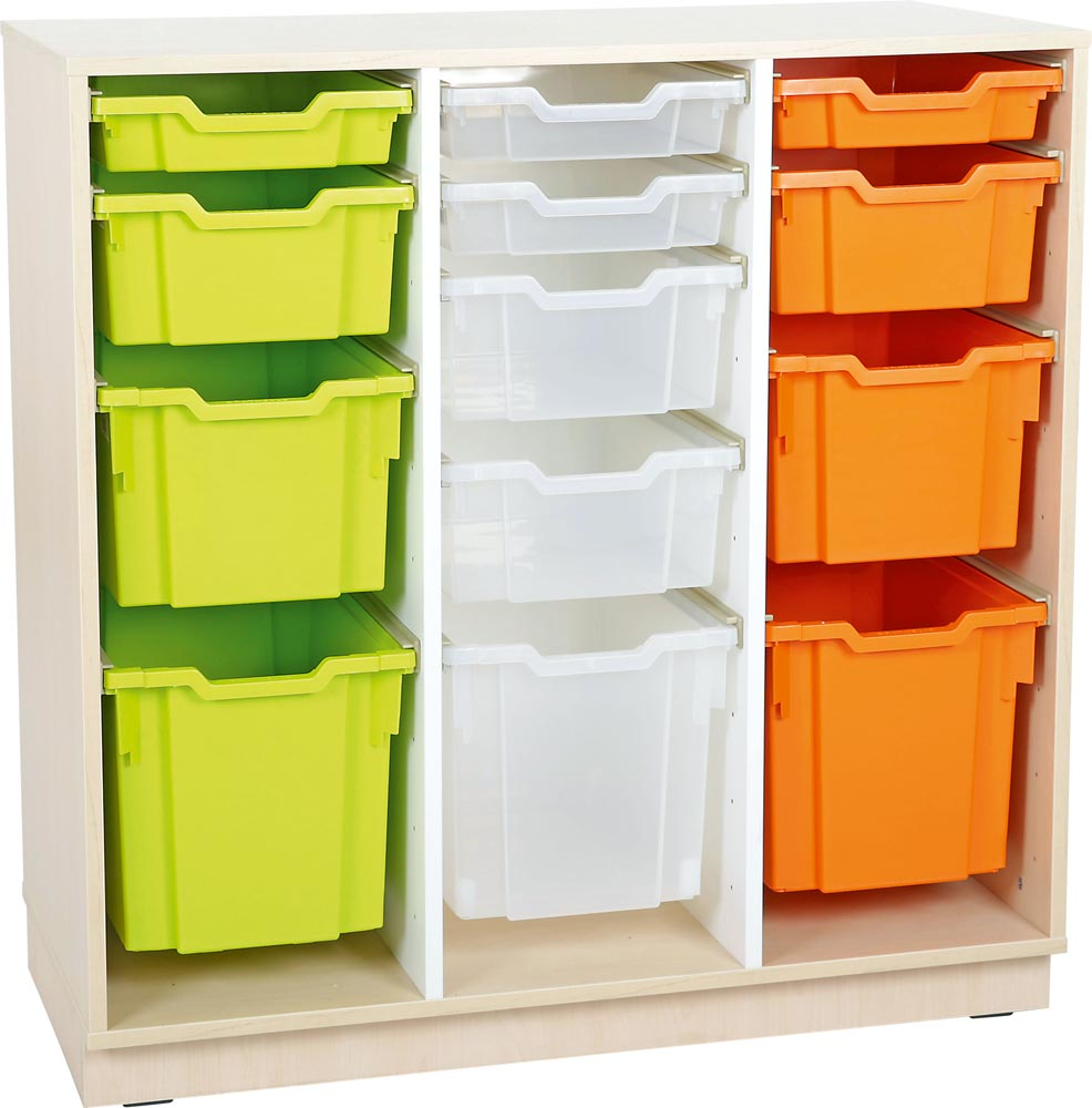 L Cabinet for plastic containers with 2 partitions