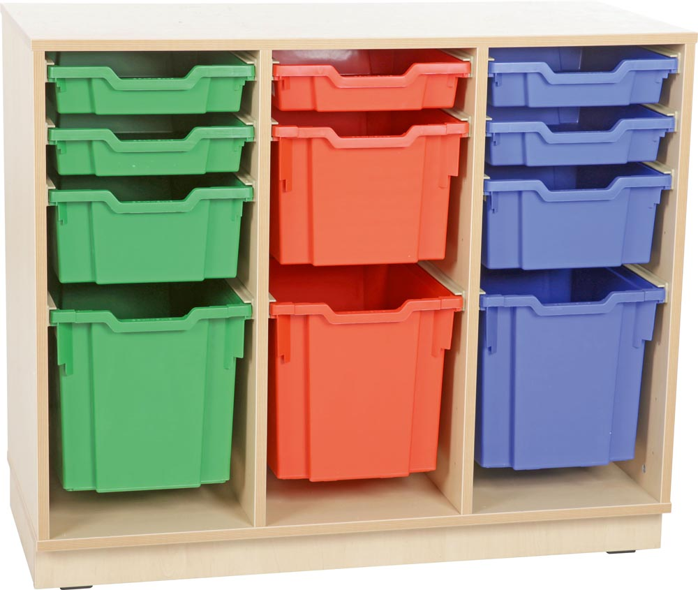 M cabinet for plastic container with Plinth - 3 rows