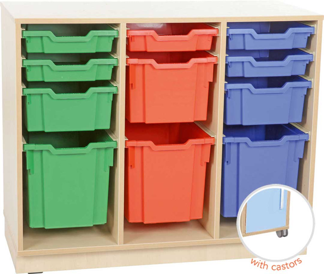 M Cabinet for Plastic Containers 3 Rows with Castors